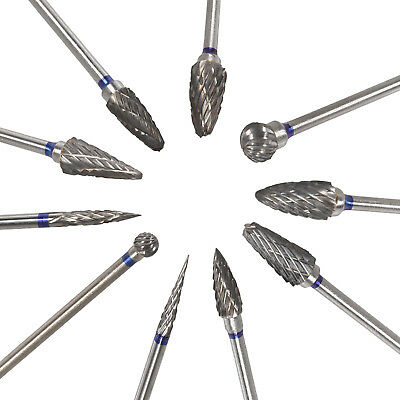 10pc Tungsten Carbide Steel Dental Burs Lab Tooth Burrs Drill Marathon Polishers