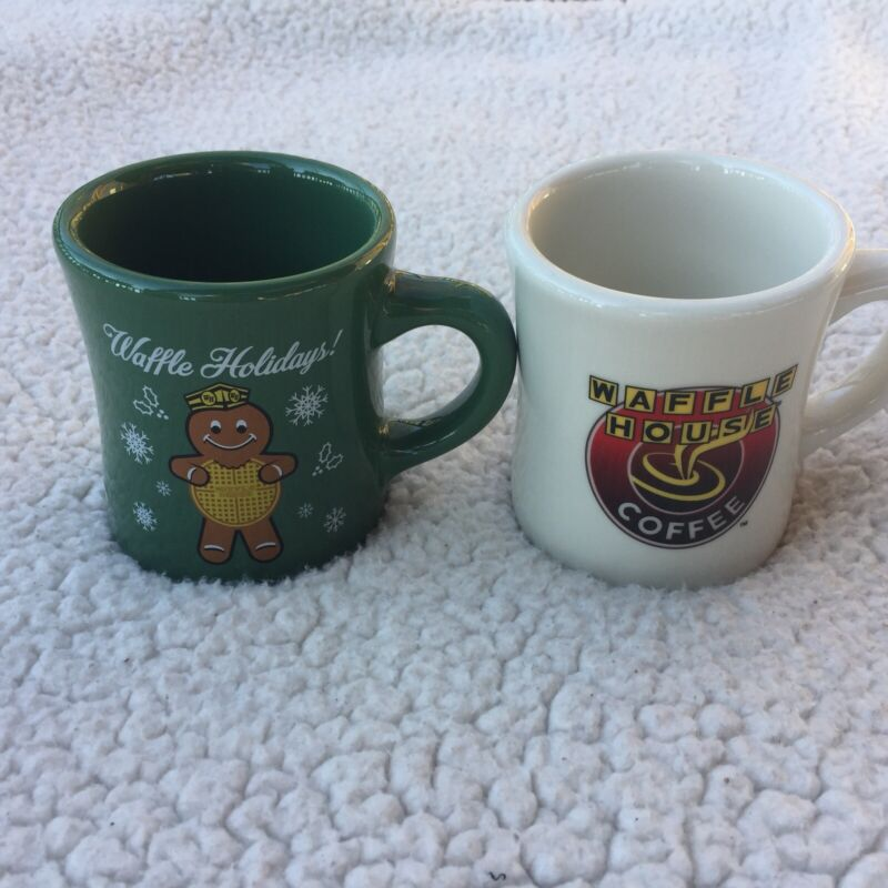 LOT OF 2 WAFFLE HOUSE COFFEE CUPS MUGS COLLECTIBLE 2016 WAFFLE HOLIDAY