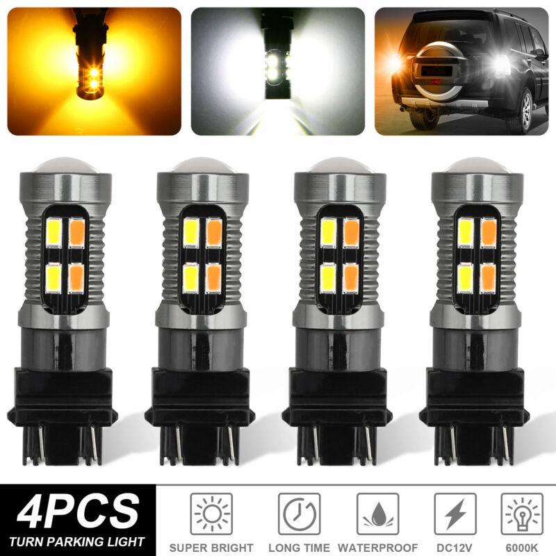 4x 3157 3156 LED Turn Signal DRL Light Bulbs White Amber Switchback 4157na 3457a