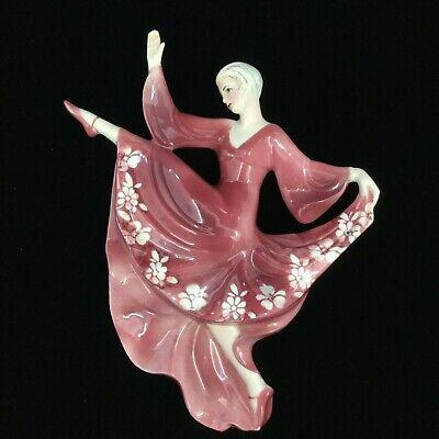 Art Deco  Wandmaske Wall Plaque Figur Tänzerin Dancing Girl Katzhütte