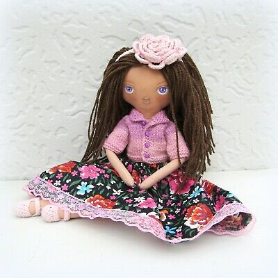 Brown latina rag doll handmade Gift for girl Heirloom dress up cloth soft dolls](Heirloom Dresses For Girls)