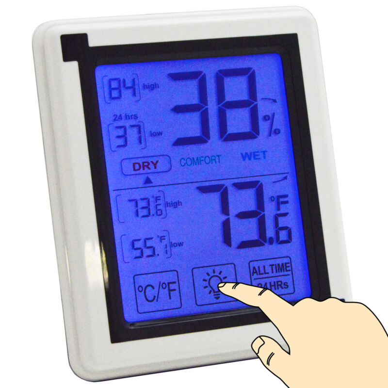 Digital Indoor Thermometer and Humidity Meter, Battery Operated, Tabletop Design
