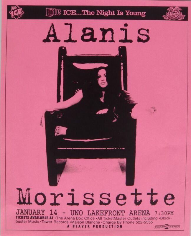 ALANIS MORISSETTE 1996 NEW ORLEANS CONCERT TOUR POSTER - Alternative Rock Music