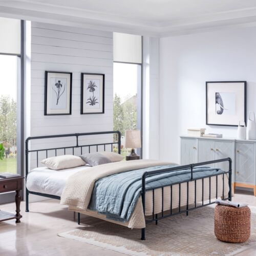 Sally Queen-Size Iron Bed Frame, Minimal, Industrial Beds & Bed Frames