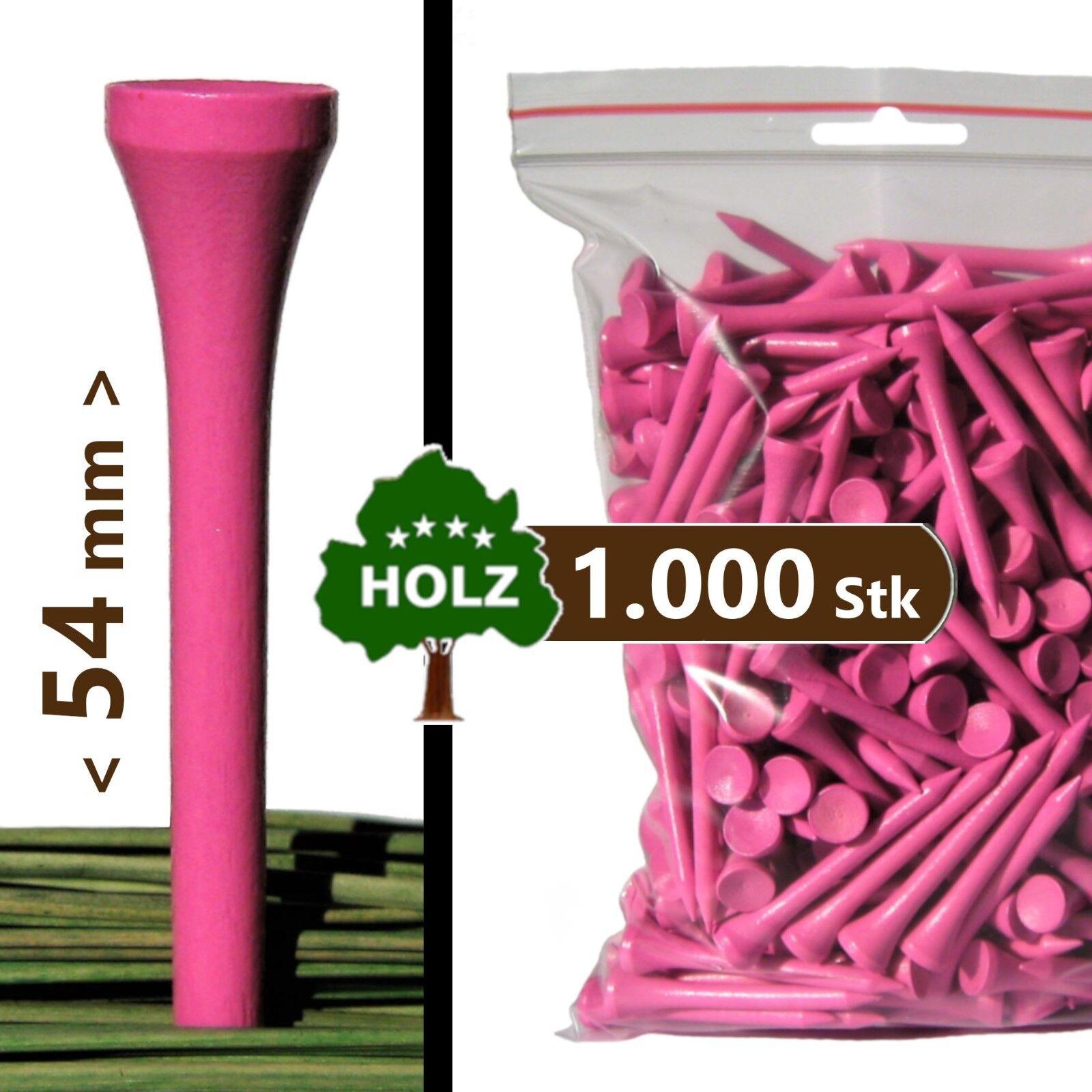 1000 x GOLF-TEES: Holz, 54mm (=Standard), pink / PREMIUM Golftees inkl. Versand