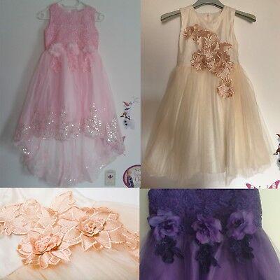 �dchen Hochzeit Party Ball Blumen Tüll Einschulung (Blume Mädchen Kleid Designs)