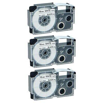 3pk Xr-18we Black On White Label Tape For Casio Kl-120 430 750 2000 34 18mm