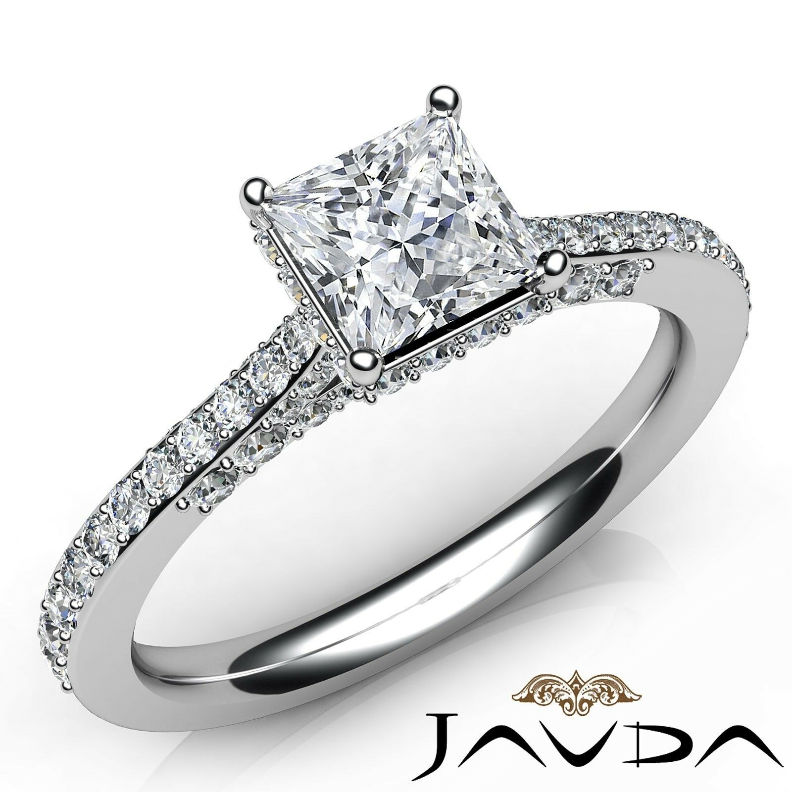1.15ctw Bridge Accent Princess Diamond Engagement Ring GIA F-VVS1 White Gold New