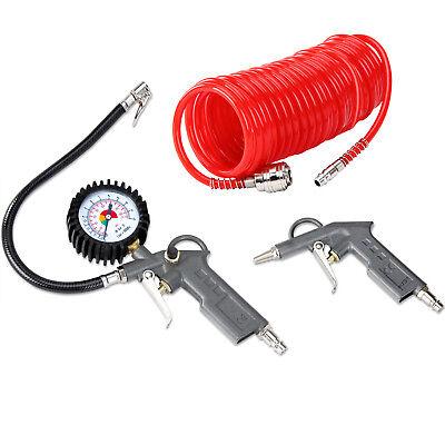 Druckluft Set 3tlg Reifenfüller Schlauch Ausblaspistole Kompressor Zubehör Druck