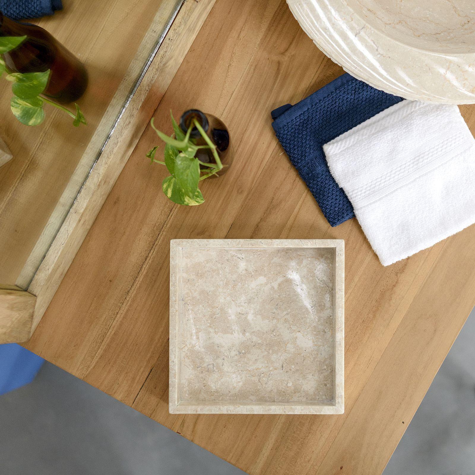 WOHNFREUDEN Marmor Stein-Schale creme 20x20 cm Marmor Bad Ablage Dekoration