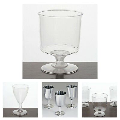 60 Pcs - Clear Classic  Disposable Plastic Wine Glass For Wedding Party Decor