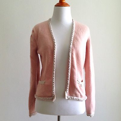 Pls Read - VTG Chanel Open Cardigan Sweater Light Pink 100% Cashmere