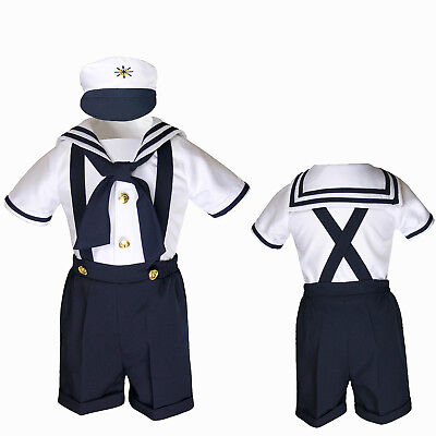 Infant Toddler Boy Navy White SAILOR Shorts Formal Suit Wedding Party Outfit - Sailor Suits
