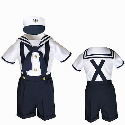Infant Toddler Boy Navy White SAILOR Shorts Formal Suit Wedding Party Outfit S-4 - Toddler Sailor Suit