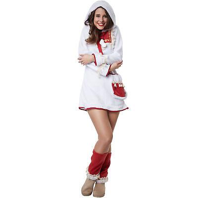 Eskimo Damen Kostüm (Kostüm Damen Eskimo Frau Inuit Nordpol Arktis Kleid Stulpen Fasching Karneval)