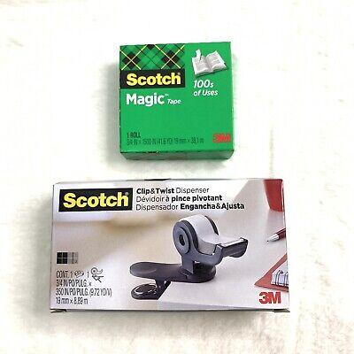 3m Scotch Clip Twist Tape Dispenser Great For Desktops And A Roll Magic Tape