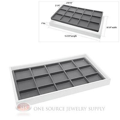 White Plastic Display Tray 15 Gray Compartment Liner Insert Organizer Storage