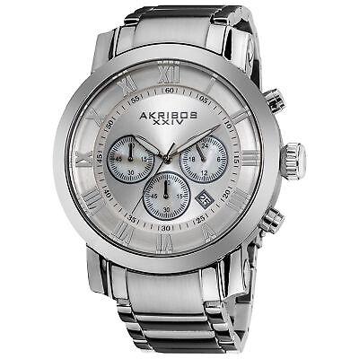Men's Akribos XXIV AK622SS Quartz Chronograph Silver Stainless Steel Watch