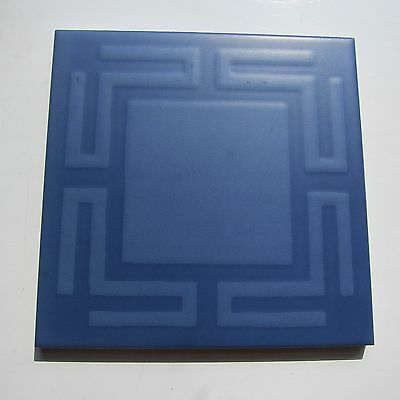 """1 SF Vintage 60s 6""""X6"""" Blue Greek Key Floor Tile, 23 SF available Made In ITALY"""