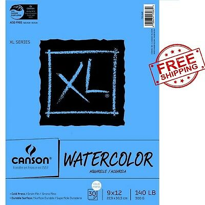 Canson XL Heavy Weight Watercolor Pad 140 lb 9 X 12 in 30 Sheets FREE SHIPPING