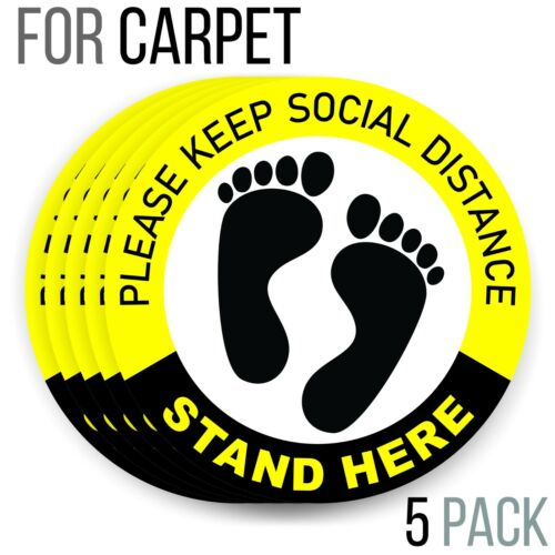 Social Distancing Floor Decals for Carpet | 6 Feet Notice Floor Sign for Queues