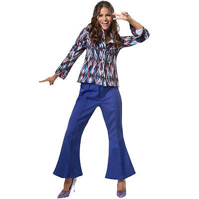 Kostüm Damen Disco Hippie 70er 80er Retro Schlaghose Bluse Fasching Karneval