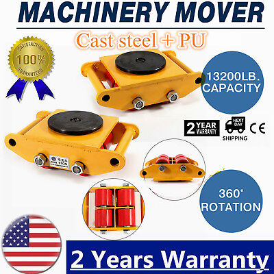 360heavy Duty Machine Dolly Skate Machinery Roller Mover Cargo Trolley 6t 13200