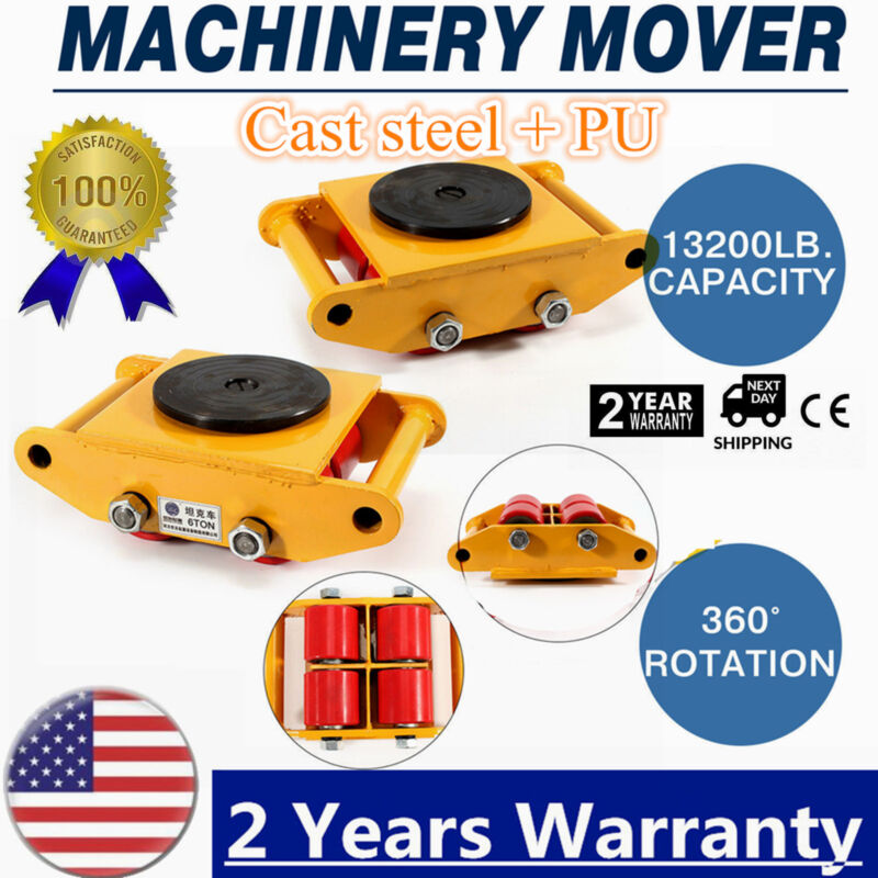 360°Heavy Duty Machine Dolly Skate Machinery Roller Mover Cargo Trolley 6T 13200