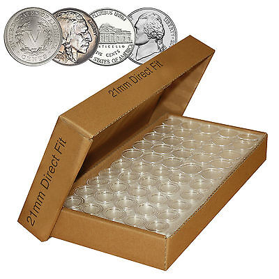 Nickel Direct Fit Airtight Airtite A21 Coin Capsule Holders For Nickels  Qty 50