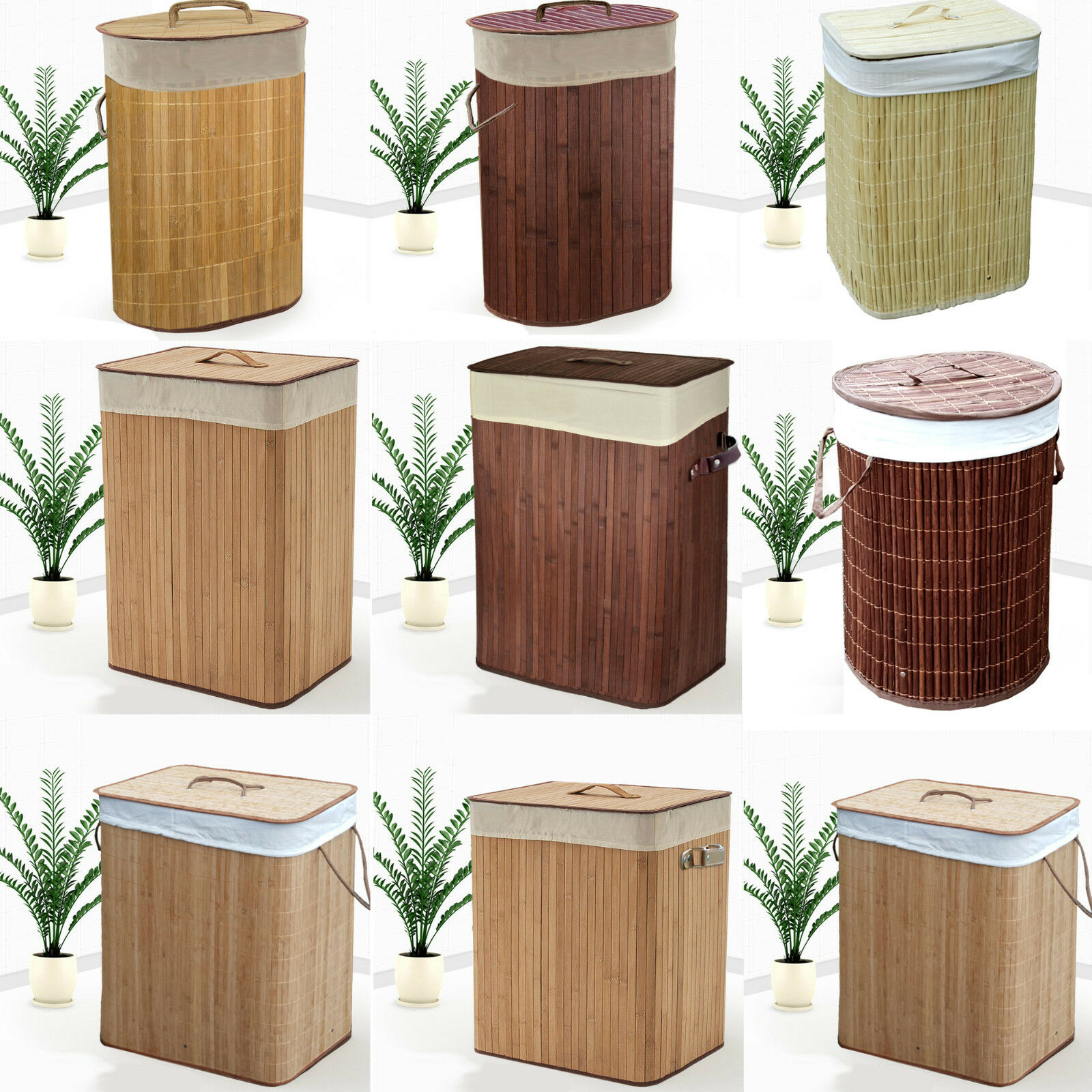 Large medium folding bamboo laundry basket hamper bin lidded storage clothes bag ebay - Bamboo clothes hamper ...