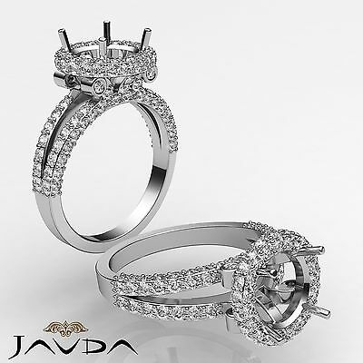 Halo Pave F-G Color Diamond Engagement Ring 14k W Gold Round Semi Mount 1.4Ct
