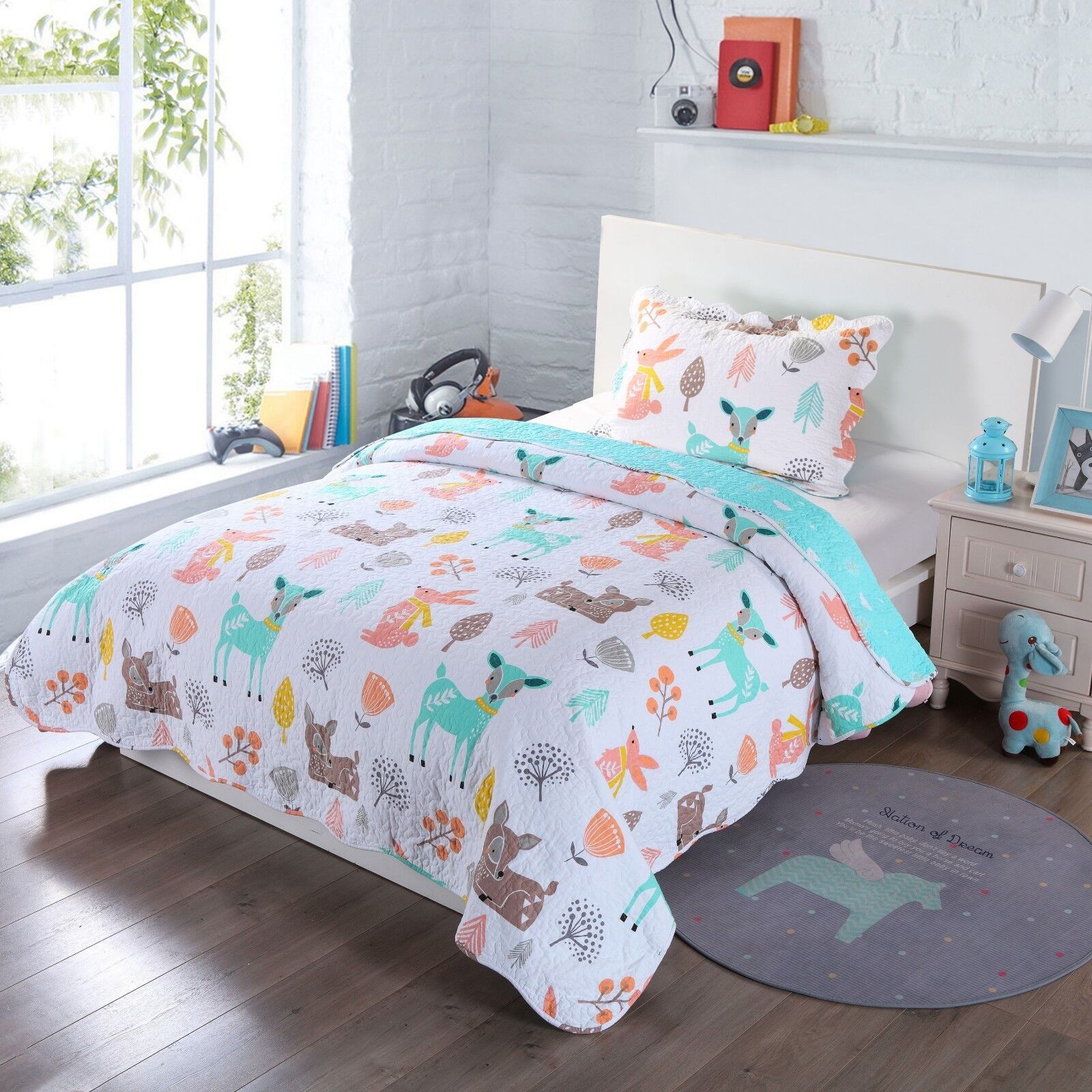 100% Cotton Kids Quilt Bedspread Comforter Set Throw Blanket
