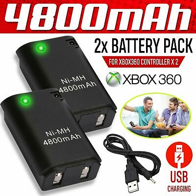 2X 4800mAh Wireless Controller Rechargeable Battery Pack for Xbox 360 Black US