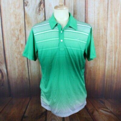 Puma Men's Medium Golf Polo Shirt Embroidered Logo Green Striped Gradient