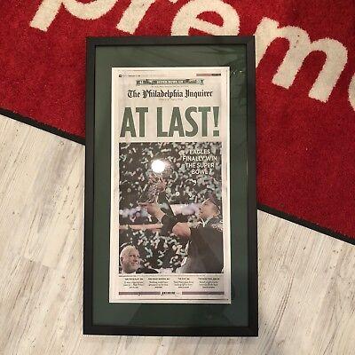 Philadelphia Eagles Super Bowl Lii Champions Inquirer Newspaper Framed 2 5 2018
