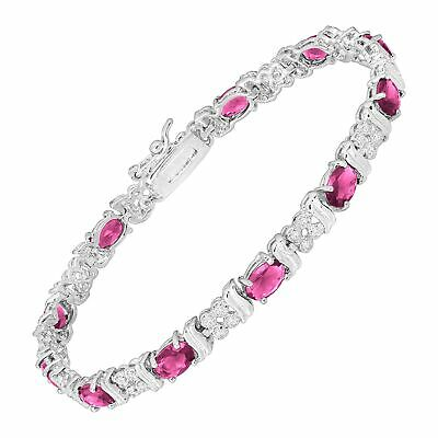 Pink Glass Tennis Bracelet with Cubic Zirconia in Rhodium-Plated Bronze, 7.25