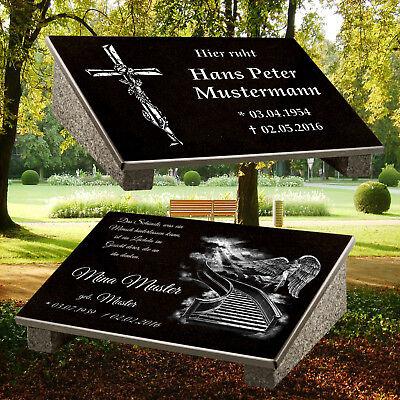 Grabstein Grabplatte Gedenkstein Grabschmuck 40x30 mit Granitstütze Granit