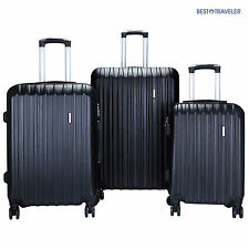 3Pcs Luggage Travel Set Bag ABS Trolley Spinner Suitcase with TSA Lock