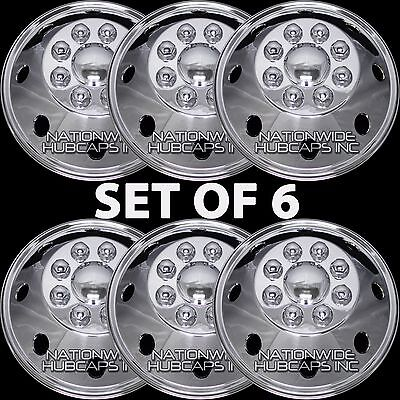 "6 New 16.5"" GMC RV MOTORHOME CHROME 8 Lug Dual Wheel Simulators Hub Caps Covers"