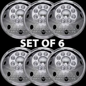 6-New-16-5-034-GMC-RV-MOTORHOME-CHROME-8-Lug-Dual-Wheel-Simulators-Hub-Caps-Covers