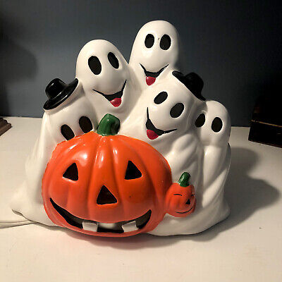 Vintage Halloween Ceramic Lighted Pumpkin & Ghosts, Jack O Lantern