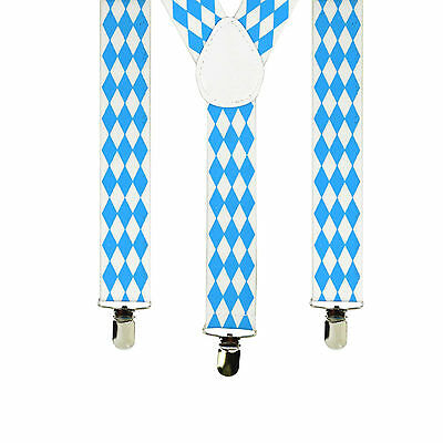 Bavarian Themed Check German Oktoberfest Costume Suspenders - International Themed Costumes