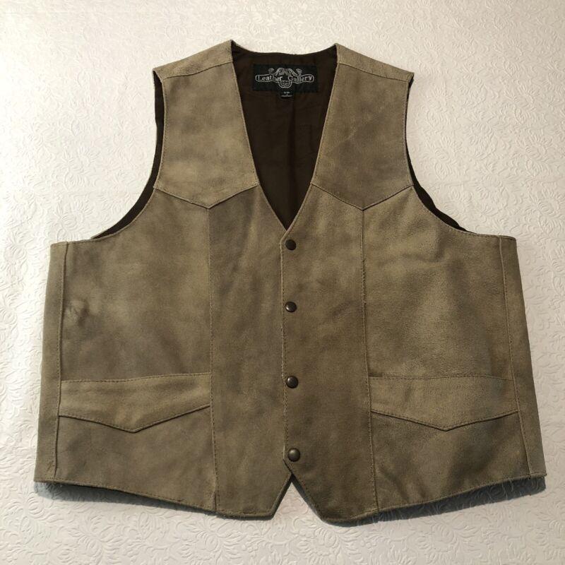 Leather Gallery Suede Vest Men's Size 50 Motorcycle Harley Biker Worn Look