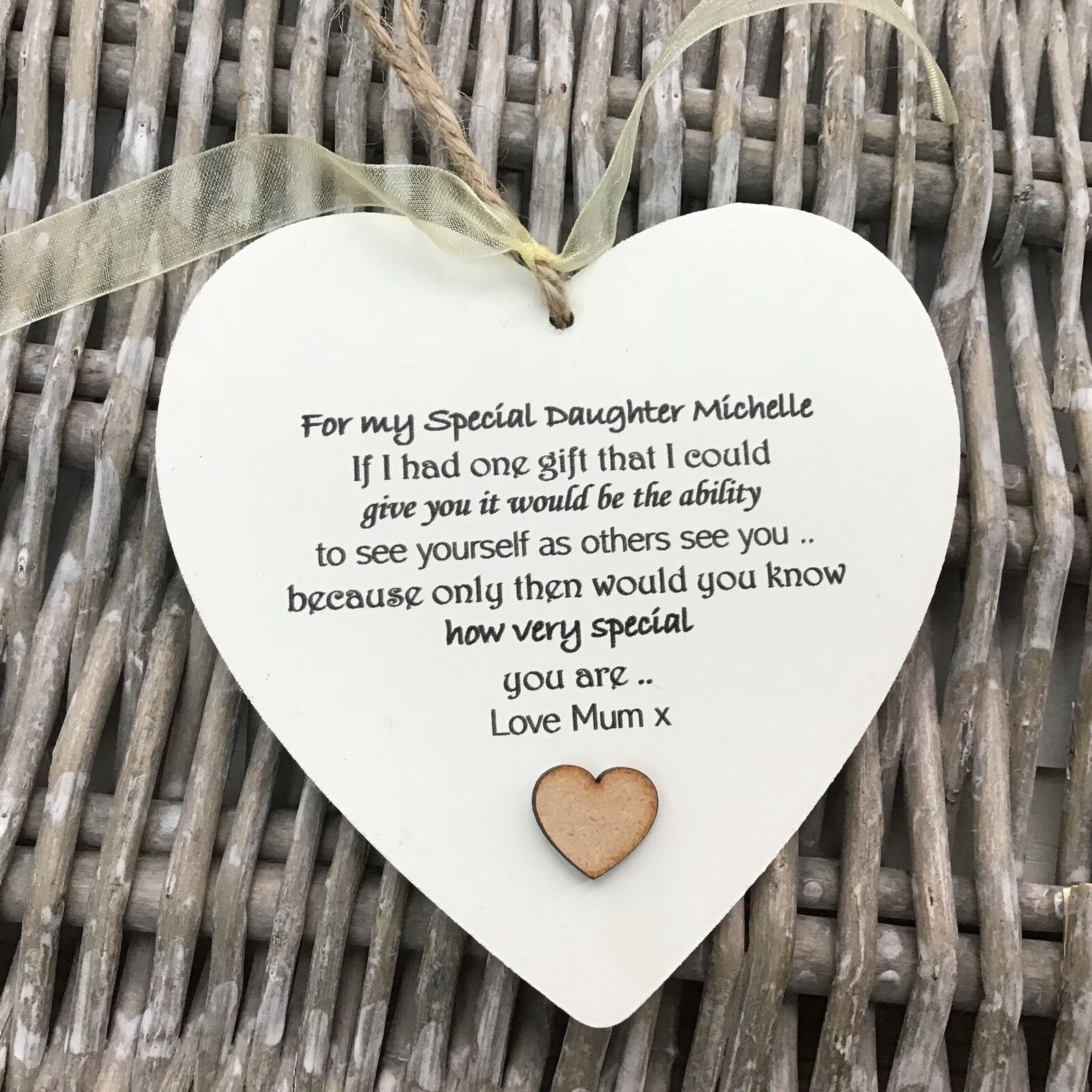 Shabby personalised Gift Chic Heart Plaque Special DAUGHTER Present ANY NAME Mum - 332885867229