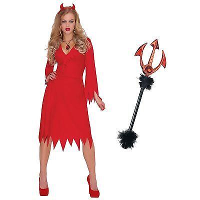 Adult Ladies Sexy Red Hot Devil Halloween Horns Pitchfork Fancy Dress Costume UK](Halloween Horns Uk)