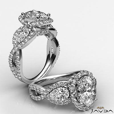 Cross Shank 3 Stone Oval Diamond Engagement Ring GIA F VS2 14k White Gold 2.4 ct