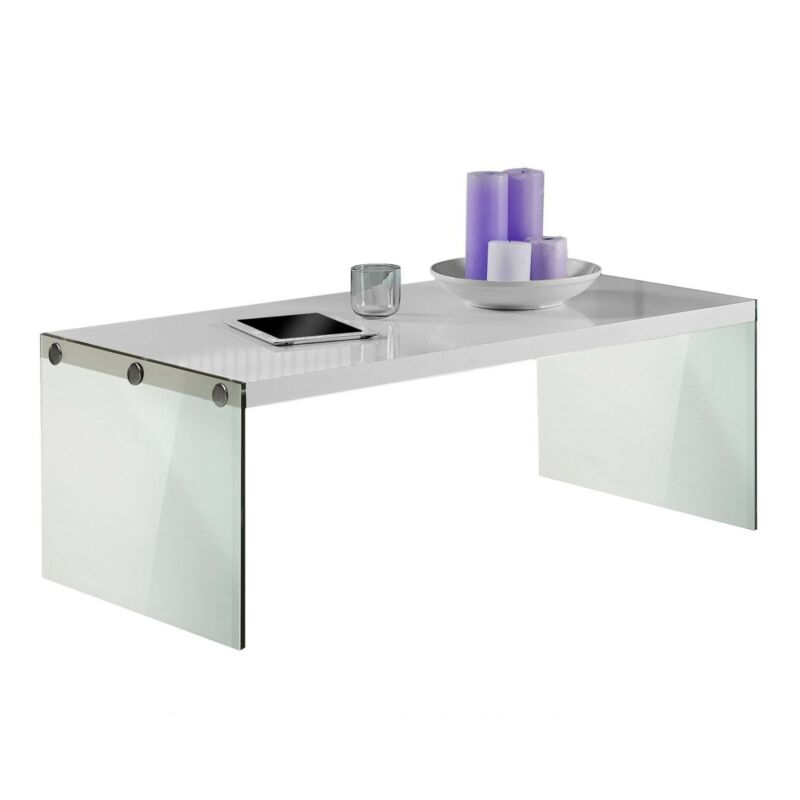 Monarch Specialties Contemporary Accent Tempered Glass Coffee Table, Gloss White