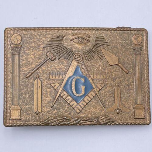 Vintage Brass Masonic Belt Buckle 1978 Harry Klitzner Co Providence RI. USA Jd17