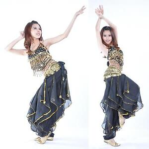 New-Belly-Dance-Costume-top-gold-wavy-pants-No-Scarf-Belt-12-colours