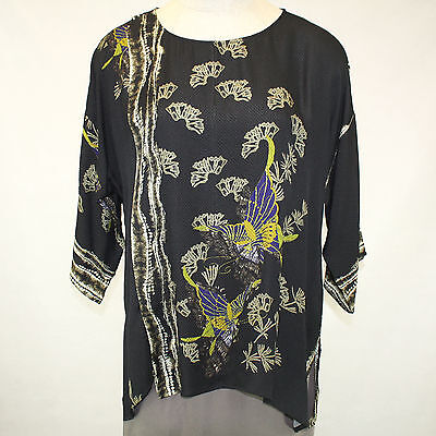 Citron Clothing 100% Silk Art To Wear Fall Winter Butterflies Blouse Plus 1X - Butterflies Clothing